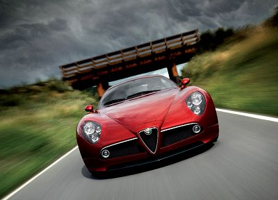 red, cars, bridges, front, Alfa Romeo, roads, vehicles, motion blur, Alfa Romeo 8C, red cars, blurred, Alfa Romeo 8C Competizione, front view, blurred background - random desktop wallpaper