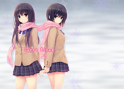 women, winter, school uniforms, anime, scarfs, Shiramine Rika, Coffee-Kizoku, anime girls, Aoyama Sumika - desktop wallpaper