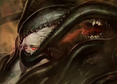 tentacles, Cthulhu, red eyes, artwork, Jason Chan - random desktop wallpaper