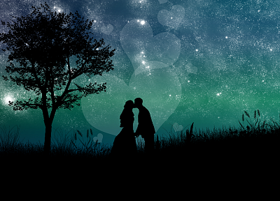 love, trees, night, kissing - random desktop wallpaper