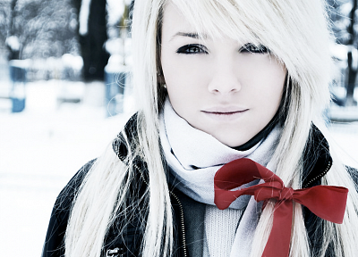 blondes, women, winter, snow, red, white - random desktop wallpaper