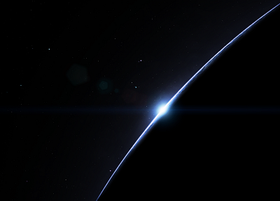 sunrise, blue, stars, planets - random desktop wallpaper