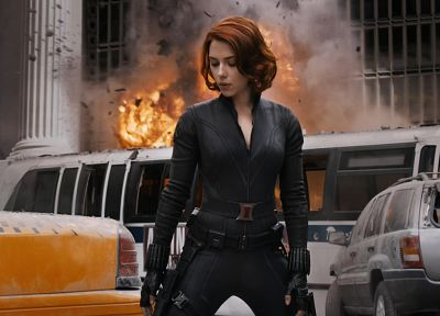 women, Scarlett Johansson, actress, explosions, Black Widow, The Avengers (movie) - desktop wallpaper