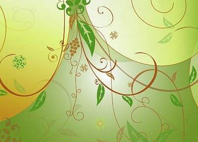 green, nature, floral, vector art - desktop wallpaper
