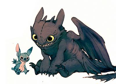 cartoons, toothless, How to Train Your Dragon, stitch, Lilo And Stitch - related desktop wallpaper