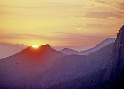 sunset, mountains, silhouettes, Brazil, Rio De Janeiro, Cristo Redentor, Christ the Redeemer - random desktop wallpaper