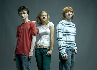 jeans, Emma Watson, Harry Potter, actors, Daniel Radcliffe, Rupert Grint - desktop wallpaper