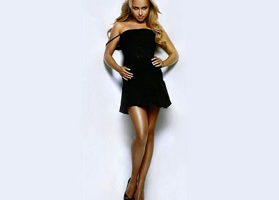 blondes, women, actress, Hayden Panettiere, celebrity, black dress, simple background, hands on hips - desktop wallpaper
