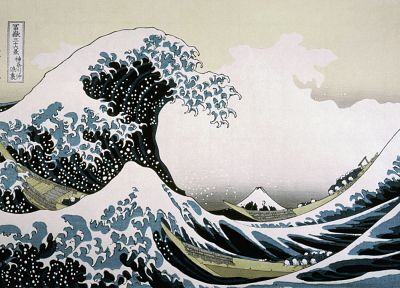 waves, drawings, The Great Wave off Kanagawa, Katsushika Hokusai, Thirty-six Views of Mount Fuji, sea - random desktop wallpaper