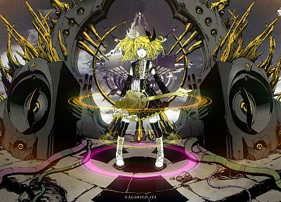Vocaloid, Kagamine Rin, guitars, anime, detached sleeves, Roshin Yuukai (Meltdown) - random desktop wallpaper