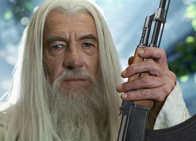Gandalf, AK-47, Ian Mckellen - random desktop wallpaper