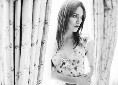 women, actress, Keira Knightley, fashion, grayscale, sunlight, curtains, floral, straight hair - random desktop wallpaper