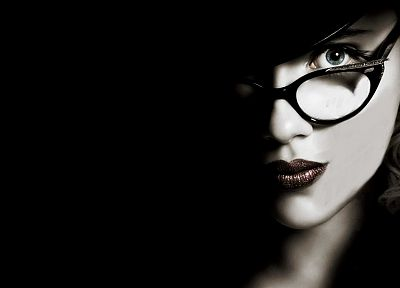 women, Scarlett Johansson, actress, glasses, The Spirit, selective coloring, hats, black background, girls with glasses - desktop wallpaper