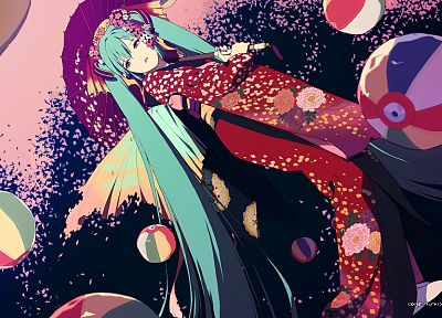 Vocaloid, multicolor, Hatsune Miku, patterns, long hair, balls, kimono, green eyes, green hair, twintails, umbrellas, flower petals, Japanese clothes, anime girls, hair ornaments, wide sleeves - desktop wallpaper