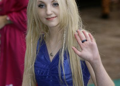 blondes, women, actress, Evanna Lynch, blue dress - desktop wallpaper