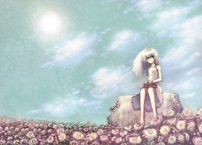clouds, dress, flowers, barefoot, white hair, aqua eyes - random desktop wallpaper