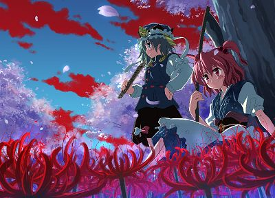 video games, Touhou, cherry blossoms, flowers, blue eyes, scythe, weapons, pink hair, red eyes, green hair, twintails, sitting, Onozuka Komachi, skyscapes, hats, Shikieiki Yamaxanadu, Japanese clothes, Yuuki Tatsuya - related desktop wallpaper