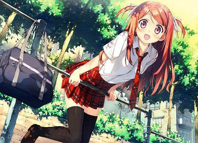 redheads, school uniforms, schoolgirls, tie, long hair, ribbons, red eyes, thigh highs, twintails, bags, anime girls, Kantoku (artist), original characters, Kurumi (Kantoku) - related desktop wallpaper