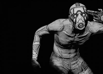 video games, Borderlands, grayscale, monochrome - desktop wallpaper