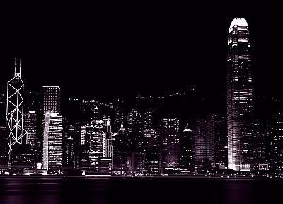 cityscapes, night, buildings, Hong Kong - duplicate desktop wallpaper