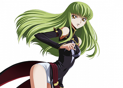 Code Geass, green hair, yellow eyes, C.C., simple background, detached sleeves - desktop wallpaper