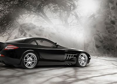 black, cars, vehicles, supercars, Brabus, Mercedes-Benz SLR McLaren - random desktop wallpaper