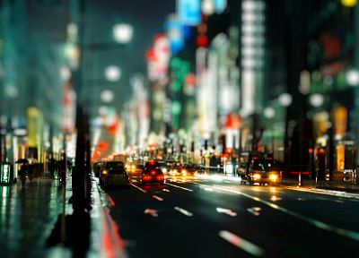 streets, rain, cars, urban, buildings, bokeh, city lights, tilt-shift, depth of field, nighttime, umbrellas, blurred - desktop wallpaper