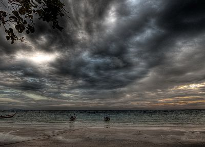 ocean, clouds, skylines, ships, shore, HDR photography, sea, beaches - related desktop wallpaper
