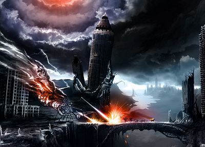 monsters, post-apocalyptic, bridges, The Lord of the Rings, fantasy art, horses, skyscrapers, digital art, sparks, running, crossovers, modern, apocalyptic, Romantically Apocalyptic, Vitaly S Alexius, Moria - related desktop wallpaper