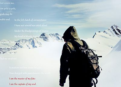 climbing, snow, text, poem, Invictus, hooded, backpacks - random desktop wallpaper