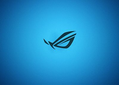 blue, minimalistic, Asus, gradient, logos, Republic Of Gamers - desktop wallpaper