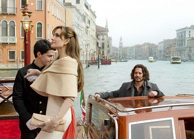 movies, Angelina Jolie, film, The Tourist, Johnny Depp - related desktop wallpaper