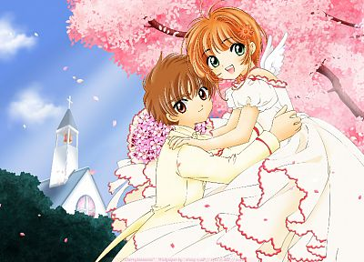 brunettes, love, brown eyes, green eyes, couple, Cardcaptor Sakura, wedding, orange hair - related desktop wallpaper