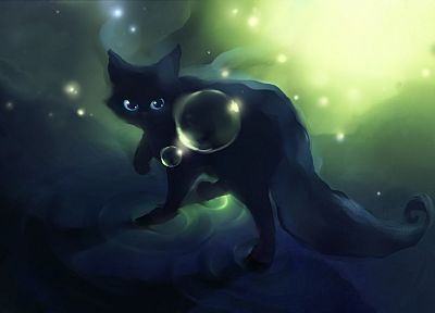 black, cats, animals, Black Cat, DeviantART, bubbles, artwork, Apofiss - random desktop wallpaper