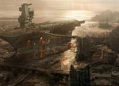 video games, carrier, Fallout, ships, apocalypse, boats, concept art, artwork, vehicles, rivet city, Fallout 3, sea - random desktop wallpaper