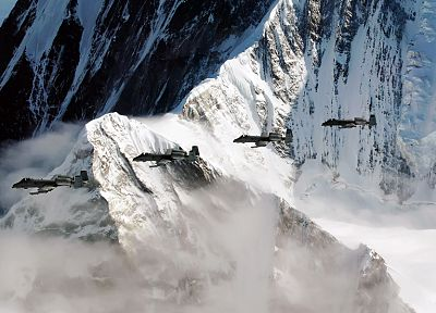 mountains, snow, A-10 Thunderbolt II - desktop wallpaper