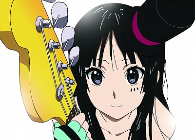 brunettes, K-ON!, green eyes, guitars, Akiyama Mio, top hat - random desktop wallpaper