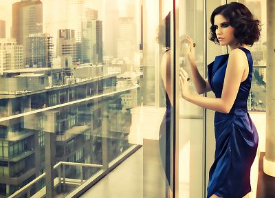 brunettes, women, dress, window panes, blue dress, reflections - random desktop wallpaper