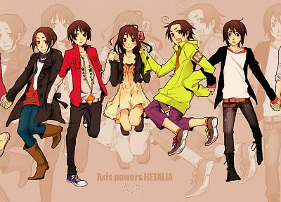 Japan, China, jumping, Hong Kong, Asians, Korea, Taiwan, Thailand, anime, Axis Powers Hetalia - desktop wallpaper