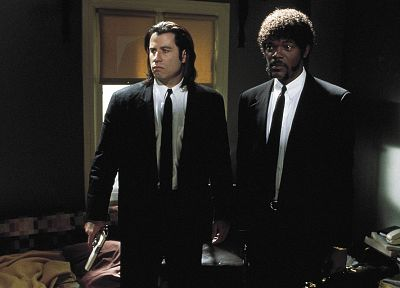 movies, suit, Pulp Fiction, screenshots, Samuel L. Jackson, John Travolta - related desktop wallpaper