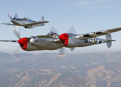 aircraft, airplanes, World War II, P-38 Lightning, P-51 Mustang - desktop wallpaper