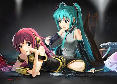 Vocaloid, Hatsune Miku, Megurine Luka, detached sleeves - related desktop wallpaper
