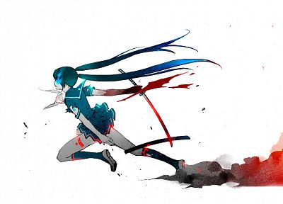 Vocaloid, Black Rock Shooter, Hatsune Miku, school uniforms, simple background, sailor uniforms - related desktop wallpaper