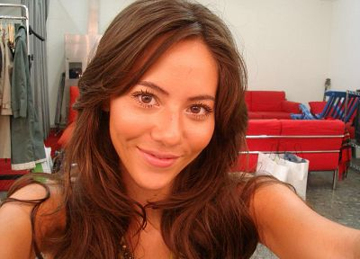 brunettes, women, close-up, models, smiling, self shot, Jessica Michibata - random desktop wallpaper