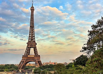 Eiffel Tower, Paris, clouds - random desktop wallpaper