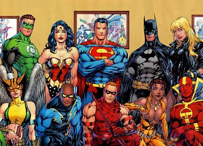 Green Lantern, Batman, DC Comics, Superman, superheroes, Black Canary, Justice League, Red Tornado, Hawkgirl, Black Lightning, Red Arrow, Wonder Woman, Vixen (comics) - random desktop wallpaper