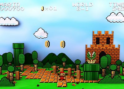Nintendo, 3D view, video games, Super Mario, retro games - random desktop wallpaper