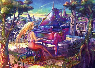 piano, multicolor, anime, Fuji Choko - random desktop wallpaper