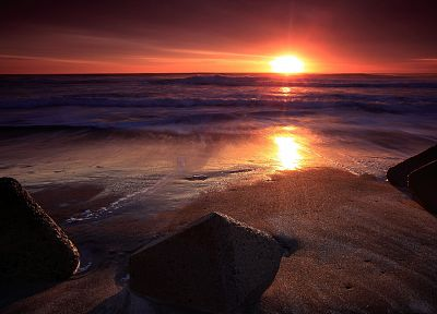 sunset, ocean, landscapes, nature, sea, beaches - related desktop wallpaper