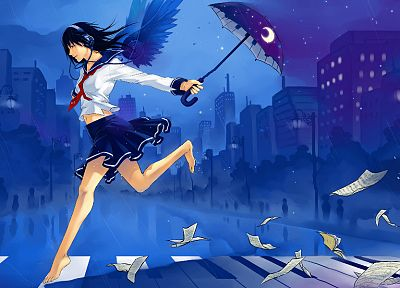 headphones, abstract, music, skirts, blue hair, red eyes, artwork, umbrellas, anime girls - related desktop wallpaper